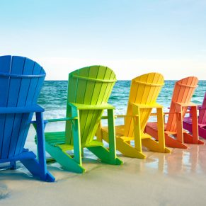 Classic Adirondack Chair: Colors from left to right: Blue, Kiwi Green, Yellow, Orange, Fuchsia, Red, and Turquoise